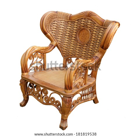 Rattan wicker chair isolated on white background - stock photo