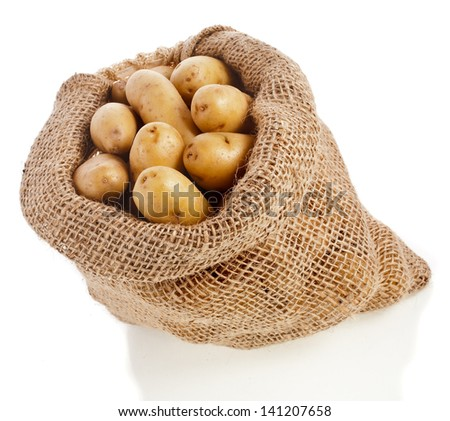Ratte potatoes in sack bag isolated on a white background