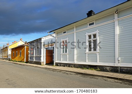 RAUMA, FINLAND -  JULY 18: Street in Old Rauma on July 18, 2013. Rauma is one of the oldest harbours in Finland - UNESCO World Heritage Site