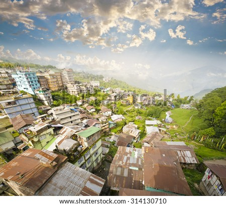 Ravangla City View at Sikkim , India - stock photo