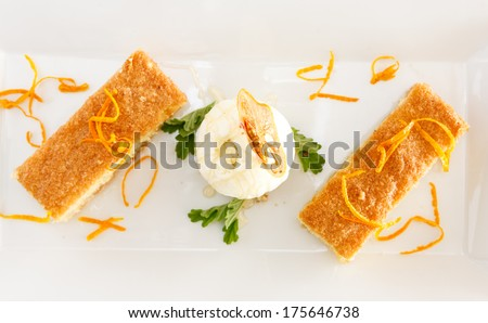 Ravani Cake in herb syrup with ice cream - stock photo