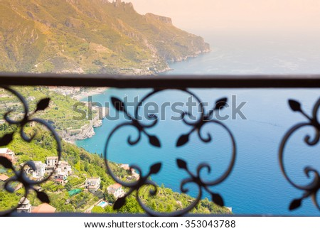 Ravello, Amalfi Coast, Sorrento, Italy. View of the coastline  - stock photo