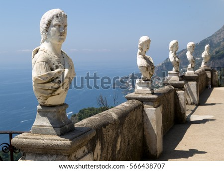 Ravello,Italy - July 3, 2016: Terrace of Infinity in Cimbrone Gardens; statues lined the wall of this terrace giving a spectacular view of the Amalfi Coast and beyond.