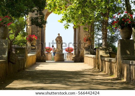Ravello,Italy - July 3, 2016: Terrace of Infinity in Cimbrone Gardens; Temple of Cerera.