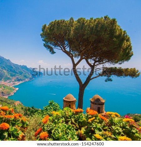 Ravello, Panoramic view of the Amalfi Coast, Italy - stock photo