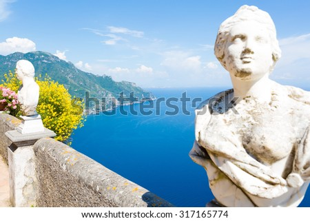 Ravello, Villa Cimbrone in a sunny summer day, infinite terrace and statues over the Amalfi Coast coastline. - stock photo