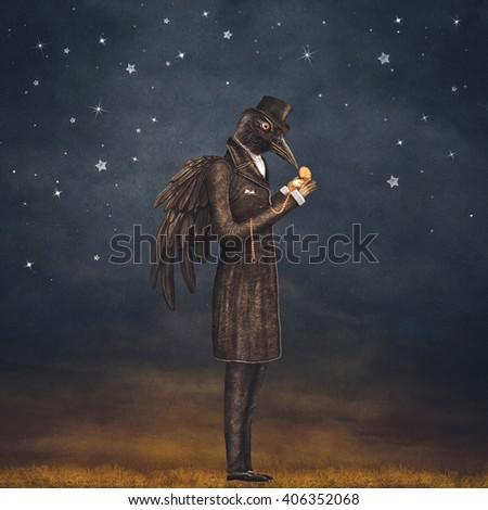 Raven at night looks at the watch , illustration art - stock photo