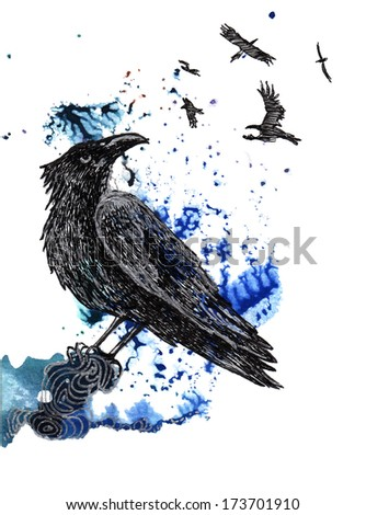 Raven black and silver drawing on a blue green watercolor splash background. - stock photo