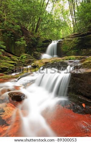 Raven Cliff Falls, north Georgia trails. Low angle shot - stock photo