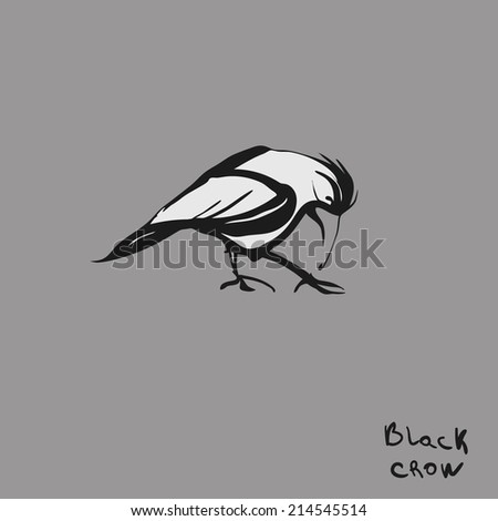 Raven drawing high quality illustration - stock photo