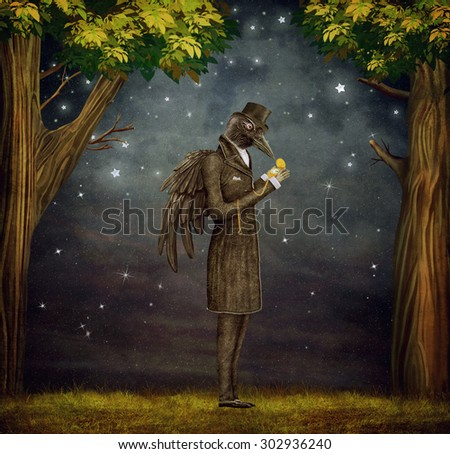 Raven in  a dark forest looks at the watch - stock photo