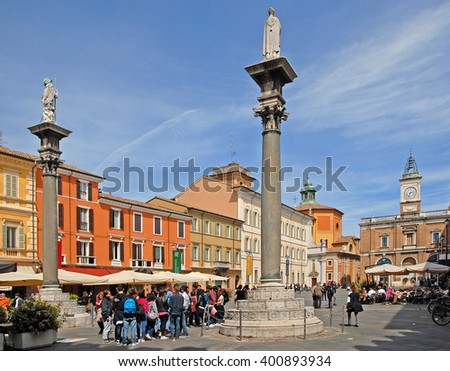 RAVENNA, ITALY- APRIL 29, 2015: tourists and locals in the city main square. The city has 3 million tourists per year - stock photo