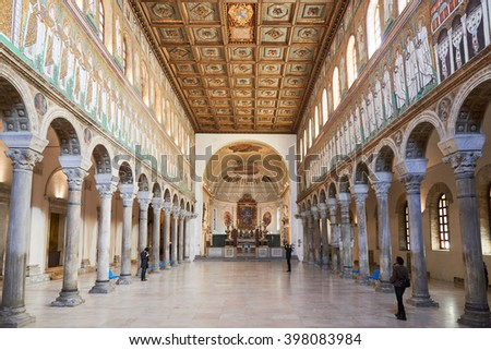Ravenna, Italy - Febuary 18, 2016: interior of Basilica of Sant' Apollinare Nuovo, a 6th-century Church built by Theodoric the Great as his palace-chapel, listed by UNESCO for its religious art. - stock photo