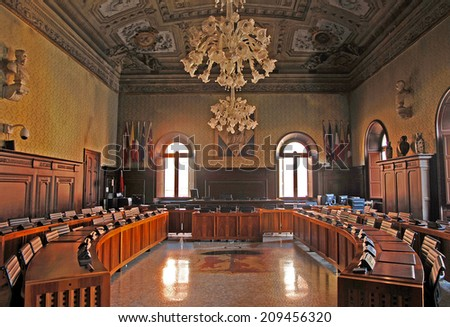 RAVENNA, ITALY- MARCH 20, 2014: the city council meeting room. The city defined by UNESCO heritage of humanity has 3 million tourists per year - stock photo