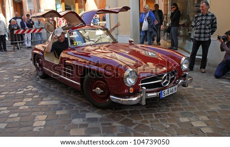 """RAVENNA, ITALY - MAY 18:  A MERCEDES BENZ 300SL W198 (1957) at the """"Mille miglia"""" historical race for classic cars on May 18, 2012 in Ravenna, Italy. - stock photo"""