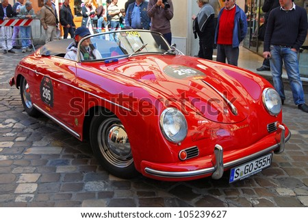 "RAVENNA, ITALY - MAY 18:  A PORSCHE 356 1600 Speedster (1956) at the ""Mille miglia"" historical race for classic cars on May 18, 2012 in Ravenna, Italy."