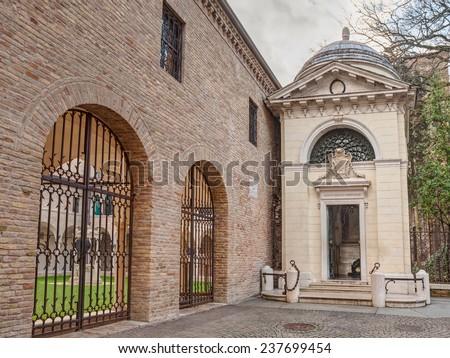 Ravenna, Italy, tomb of the italian poet and writer Dante Alighieri  - stock photo