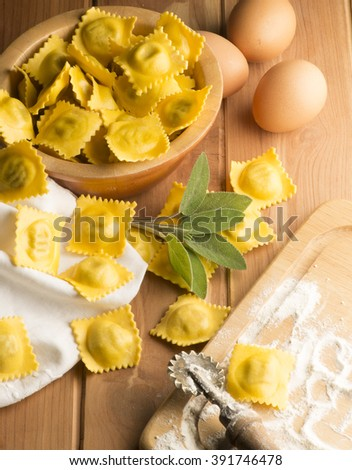 Ravioli on the wooden table