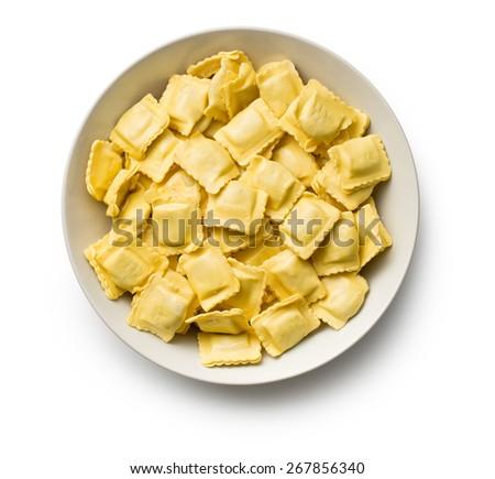 ravioli pasta on white background - stock photo