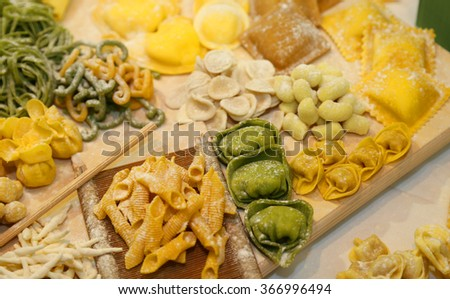ravioli tortellini and gnocchi pasta homemade with eggs and flour  and water