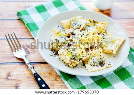 ravioli with grated cheese, food closeup - stock photo
