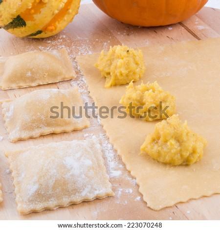 Ravioli with spicy butternut pumpkin filling - stock photo