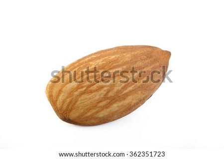 raw almond nut isolated on white background