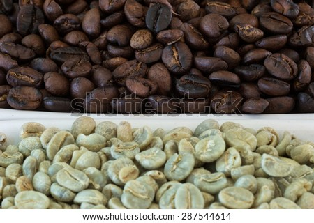Raw and roasted coffee bean