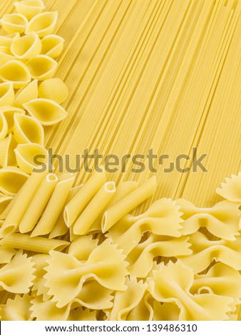 raw and uncooked pasta