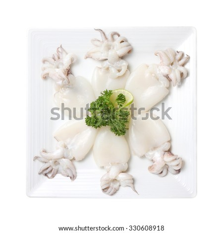 Raw babies cuttlefish isolated on white background - stock photo