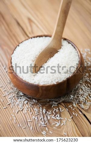 Raw basmati rice, vertical shot - stock photo