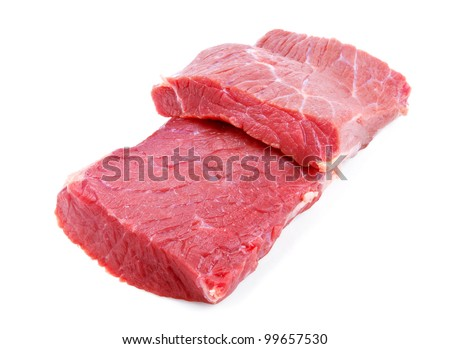 Raw beef meat isolated on white background - stock photo