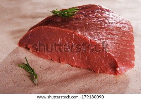 raw beef meat. round part - stock photo