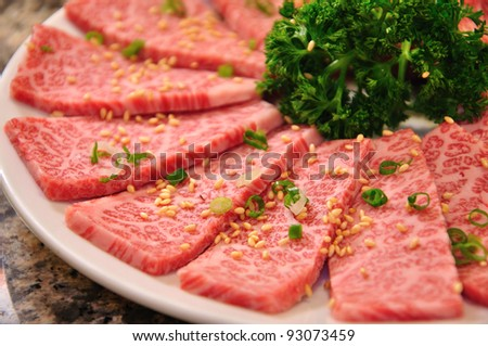 raw beef on white plate - stock photo