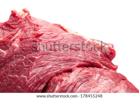 raw beef stake isolated on a white background