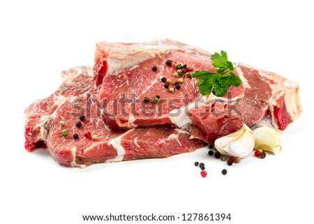 Raw beef steak isolated on white background - stock photo