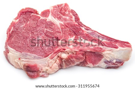 Raw beef steaks on a white background. - stock photo