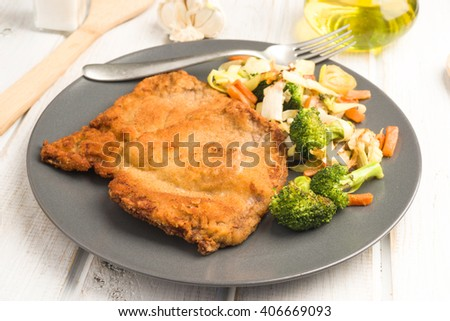 raw breaded veal steaks; already cooked