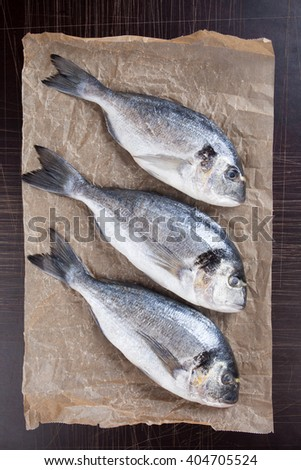 Raw bream or Sparus Aurata fish on packing paper - stock photo