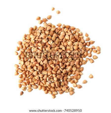 Raw buckwheat on white background