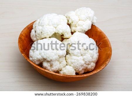 Raw Cauliflower on the wood background - stock photo