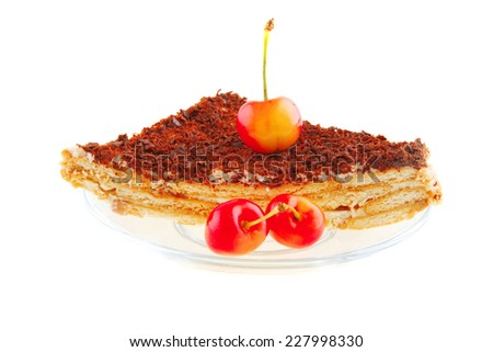 raw cherry and chocolate cake on small transparent - stock photo