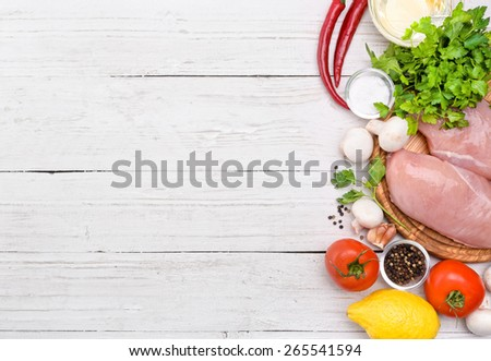 Raw chicken breast fillets - stock photo