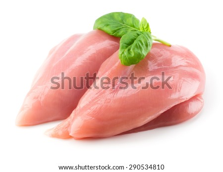 Raw chicken fillet with basil isolated on white - stock photo