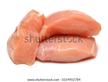 Raw chicken fillets isolated on white background