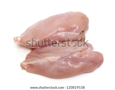 raw chicken fillets over white