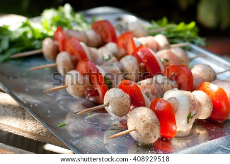 Raw chicken kebabs with onion, tomatoes and champignon with olive oil on a tray - stock photo