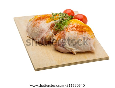 Raw chicken thigh - ready for cooking - stock photo