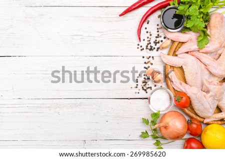Raw chicken wings - stock photo