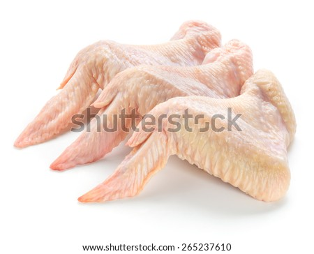 Raw chicken wings isolated on white background - stock photo